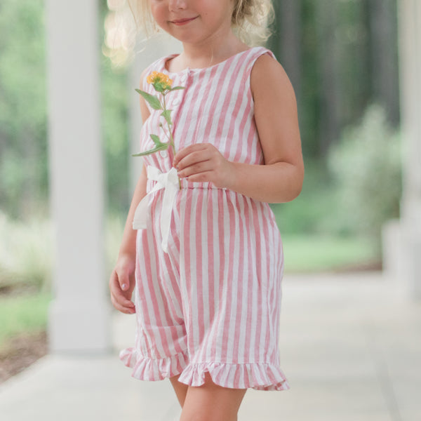 Recess Romper - Bubble Gum Stripe - Final Sale