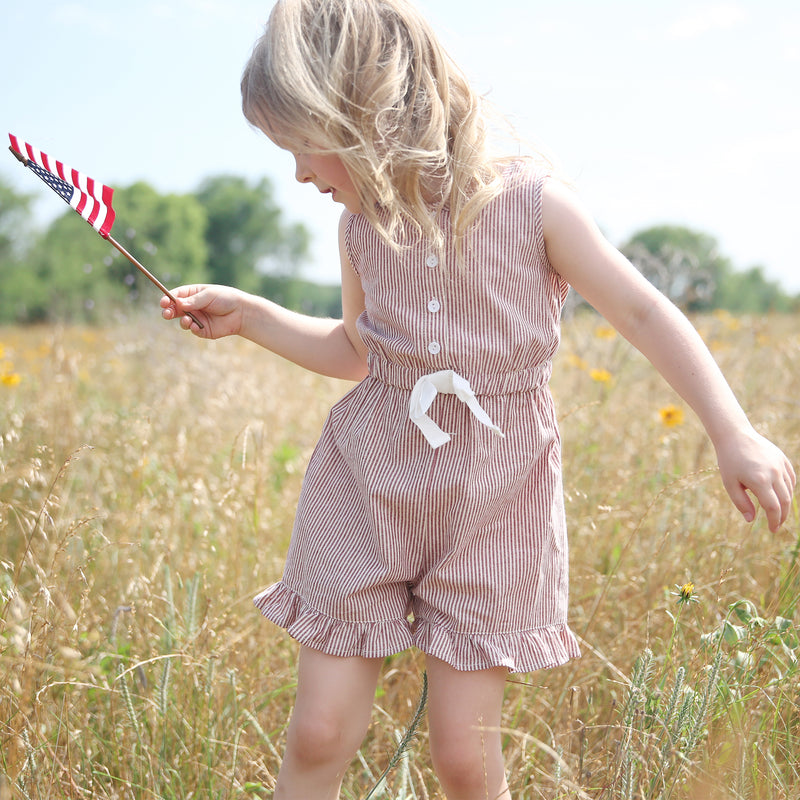 Recess Romper - Red Stripe