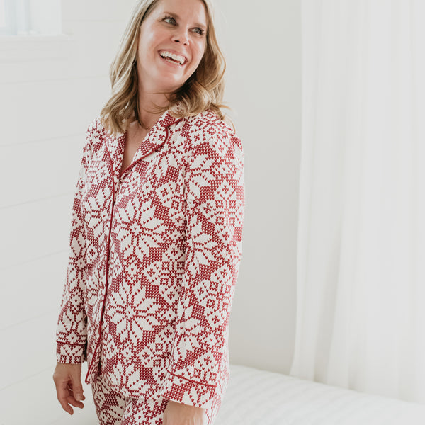 Women's Cozy PJ - Sweater Snowflake Scarlet