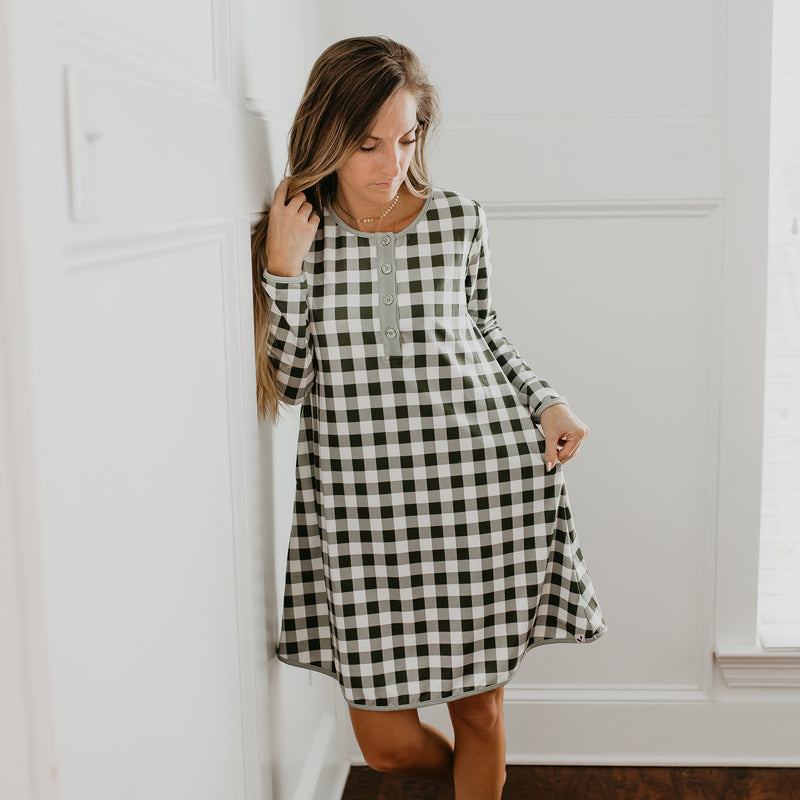 Women's Gown - Sage Check