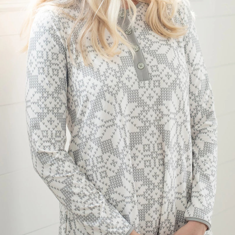 Women's Gown - Sweater Snowflake Sage