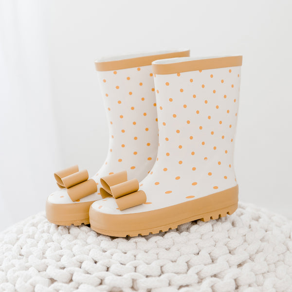 Rain Boot - Mustard Dot - Final Sale