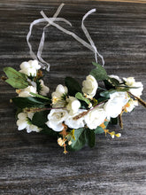Load image into Gallery viewer, White & Green Boho Flower Crown