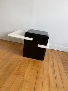 BLACK & WHITE MELAMINE SIDE TABLE