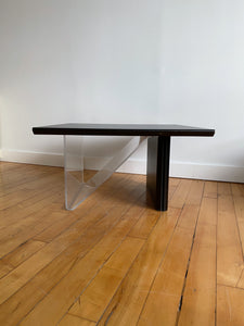 BLACK WOOD SQUARE TABLE WITH LUCITE LEG