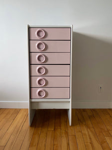 TRECO BY GIOVANNI MAUR SPACE AGE PINK DRAWER CHEST