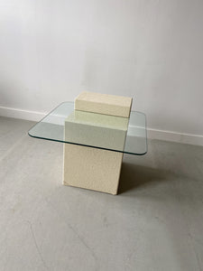 BEIGE STONE LOOK GLASS TOP SIDE TABLE