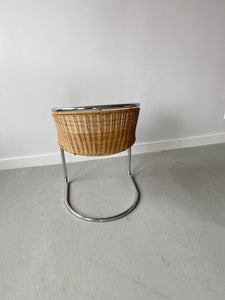 WICKER & CHROME CANTILEVER CHAIRS