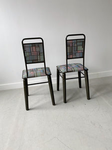 GEOMETRICAL DINING CHAIRS, 80'S