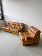 Load image into Gallery viewer, TAN LEATHER 3 SEATER MODULAR SOFA