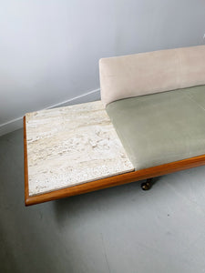 ADRIAN PEARSALL XL PLATFORM SOFA WITH BUILT IN TRAVERTINE SIDE TABLES
