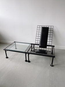 QUEBEC 69 BLACK METAL & GLASS POSTMODERN SIDE TABLE, 80'S