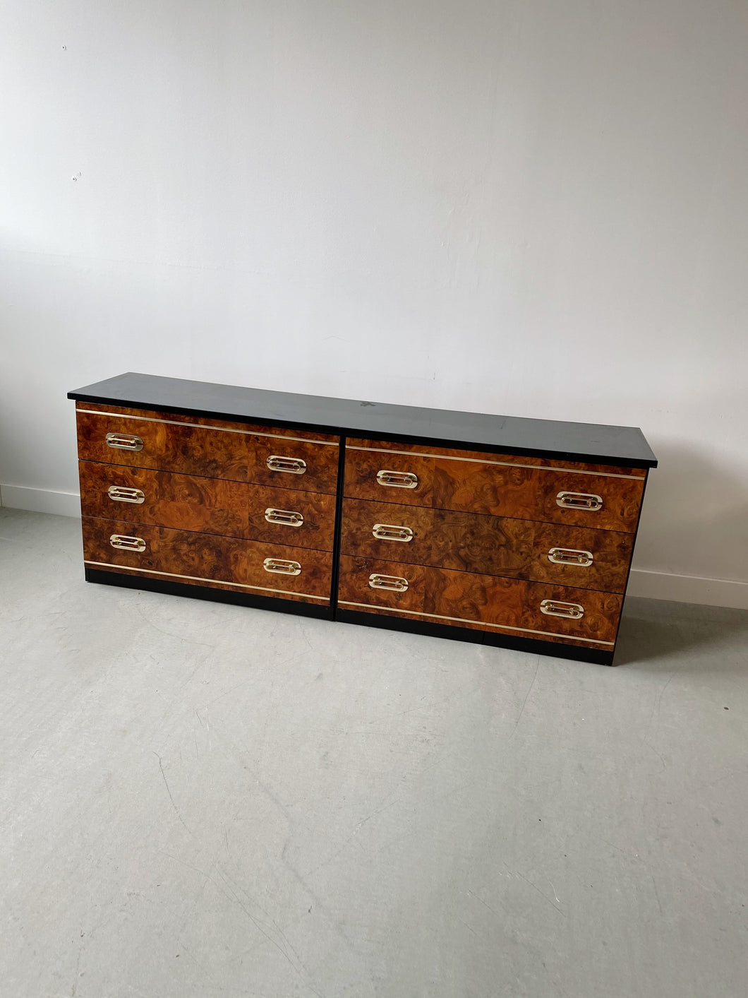 BURL & BLACK WOOD DRESSER WITH BRASS ACCENTS