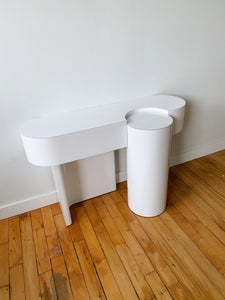WHITE MELAMINE CYLINDRICAL CONSOLE TABLE