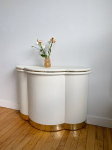 WHITE ART DECO SCALLOPED CONSOLE TABLE