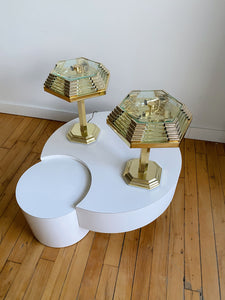 BAKALOWITS ART DECO BRASS & CRYSTAL TABLE LAMPS