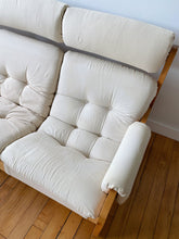 Load image into Gallery viewer, CREAM FABRIC 3 SEAT SLING SOFA