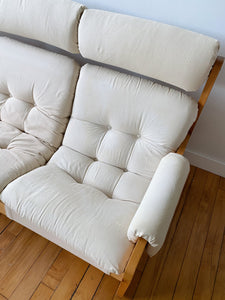 CREAM FABRIC 3 SEAT SLING SOFA