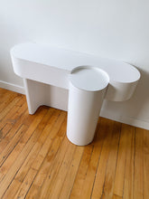 Load image into Gallery viewer, WHITE MELAMINE CYLINDRICAL CONSOLE TABLE