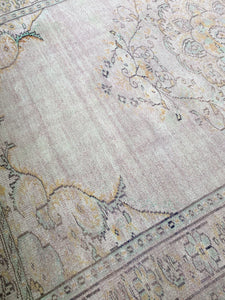 LARGE FADED PINK & GREEN OUSHAK TURKISH RUG