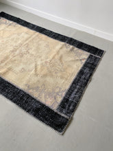 Load image into Gallery viewer, NAVY FRAMED BEIGE OUSHAK TURKISH RUG