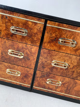 Load image into Gallery viewer, BURL & BLACK WOOD DRESSER WITH BRASS ACCENTS