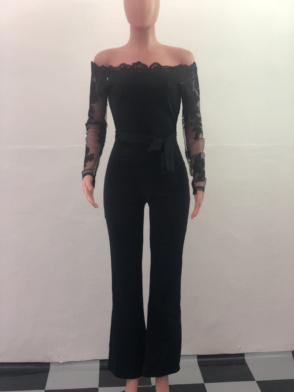 New! Vintage Elegant Lace Jumpsuit Women Wide Leg Jumpsuit