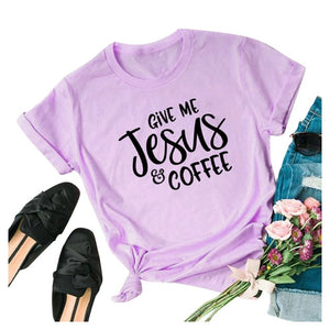 Give Me Jesus & Coffee T-Shirt Women Short Sleeve