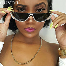 Load image into Gallery viewer, New! Diamond Cat Eye Sunglasses Women Semi-Rimless Rhinestone Frame