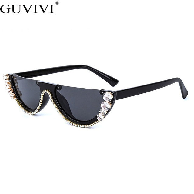 New! Diamond Cat Eye Sunglasses Women Semi-Rimless Rhinestone Frame