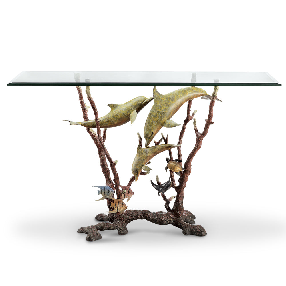 Dolphin Trio Console Table (Glass)