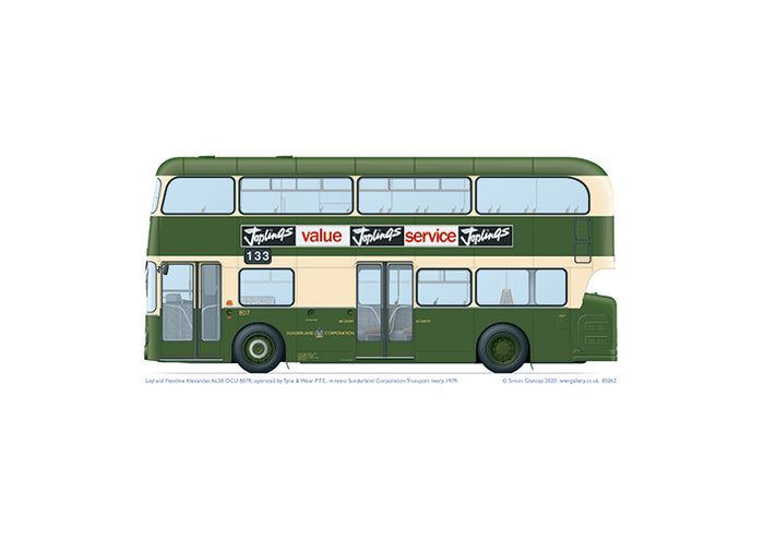 Leyland Fleetline AL58 OCU 807R TWPTE in retro Sunderland Corporation Transport livery