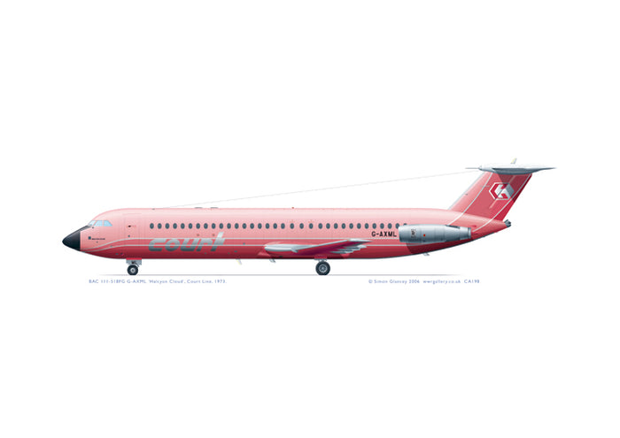 BAC 111-518FG Court Line pink livery