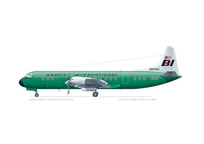 Lockheed L-188 Electra Braniff International GREEN