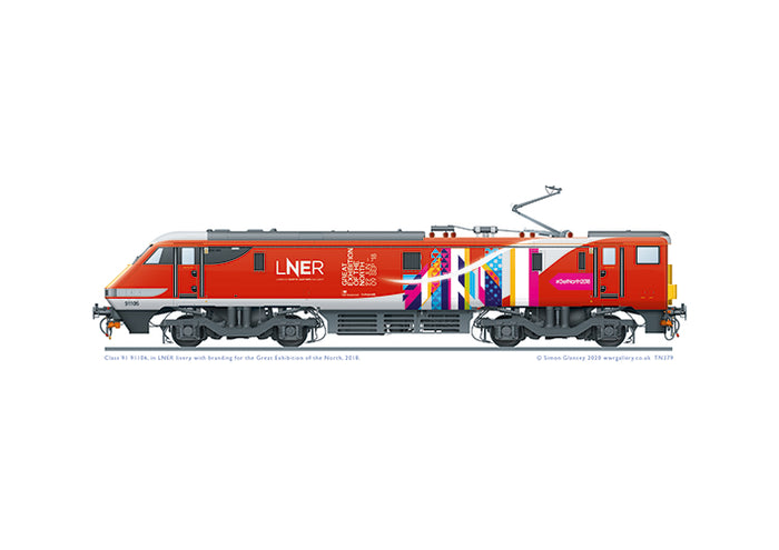 Class 91 91106 of LNER with Great Exhibition of the North branding