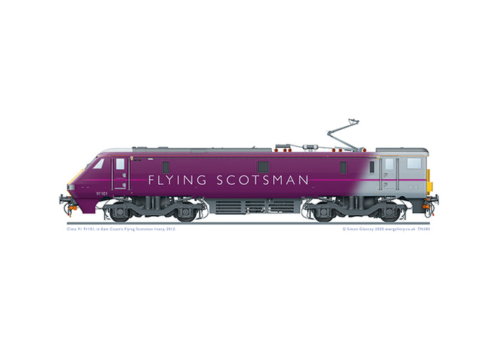 Class 91101 of East Coast Trains in special 'Flying Scotsman' livery, 2013