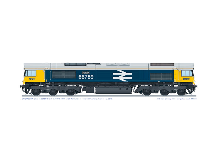 Class 66 66789 'British Rail 1948-1997' in BR large logo livery