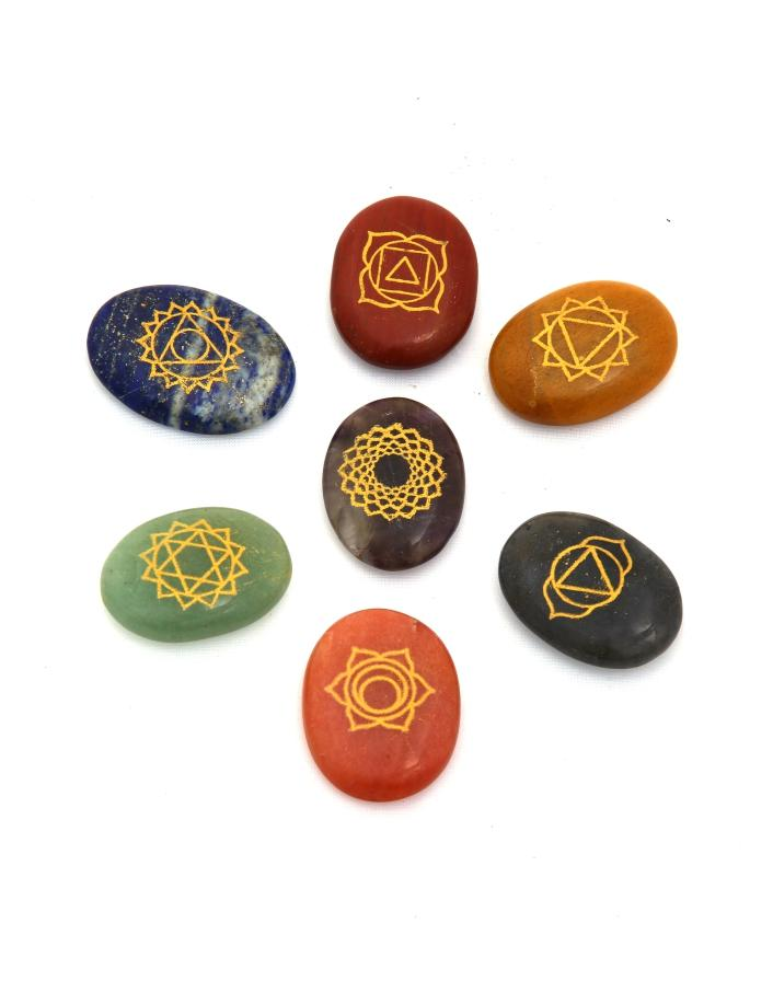 7 Chakra Oval Set with Engravings - ayaanadivine.