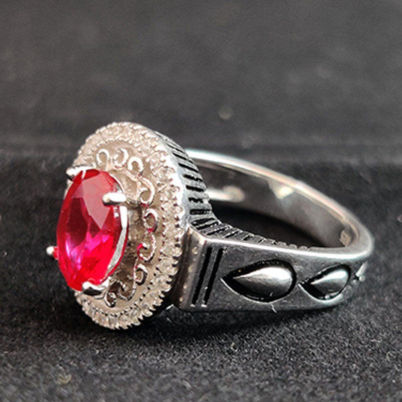 Charming Red with 925 Sterling Silver Ring - ayaanadivine.