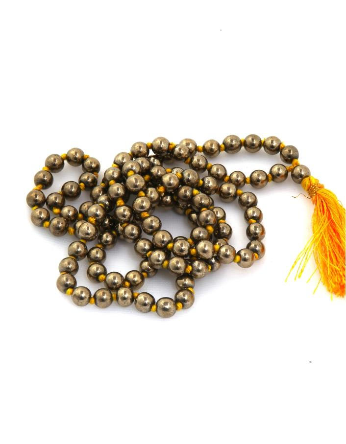 Golden Pyrite Knotted Mala - ayaanadivine.