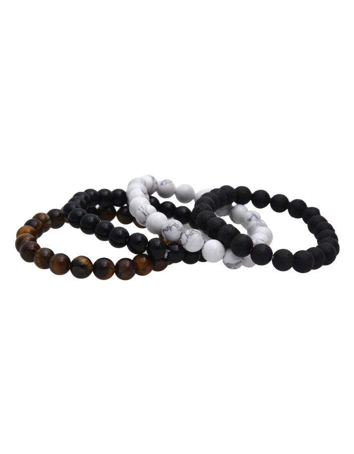 Lava, Tiger Eye, Howlite and Black Tourmaline Bracelet Combo - ayaanadivine.