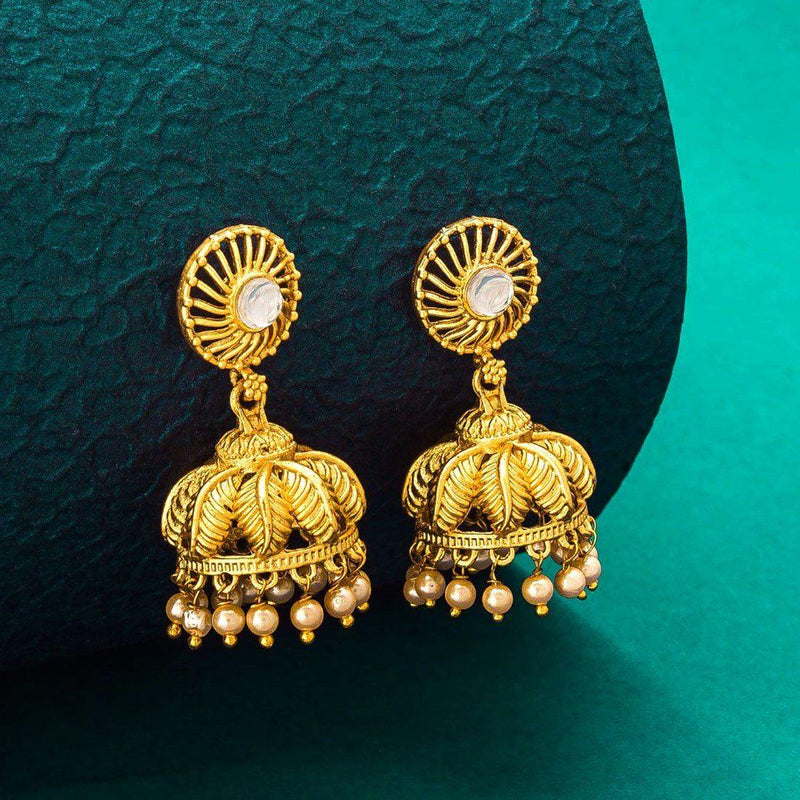Leafy Jumkha Earrings - ayaanadivine.