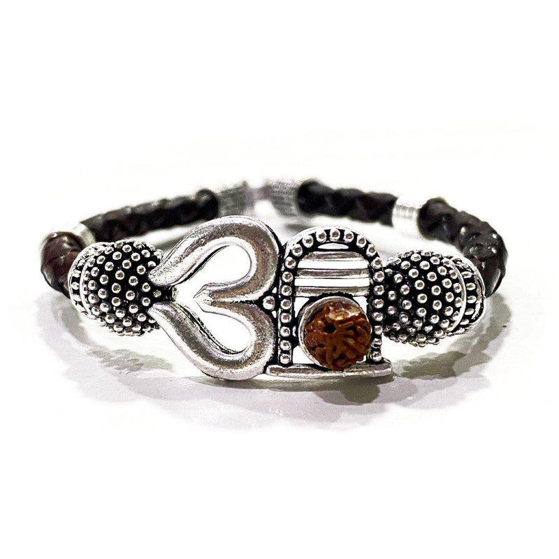 Om with Shivling Bracelet- Silver - ayaanadivine.