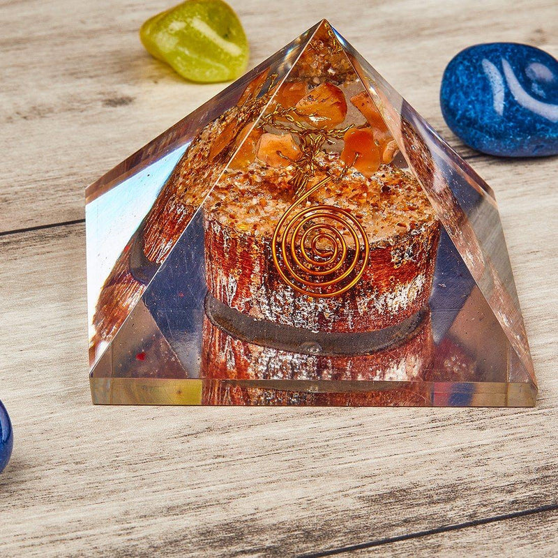 Orgone Pyramid With Carnelian Tree - ayaanadivine.