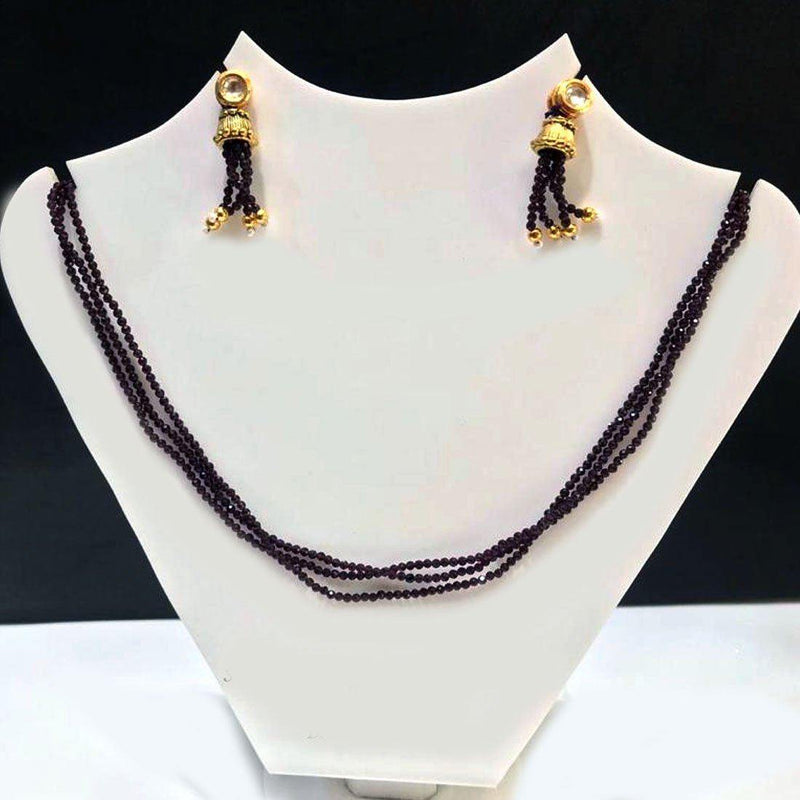 Ornate Black Necklace Set (N) - ayaanadivine.