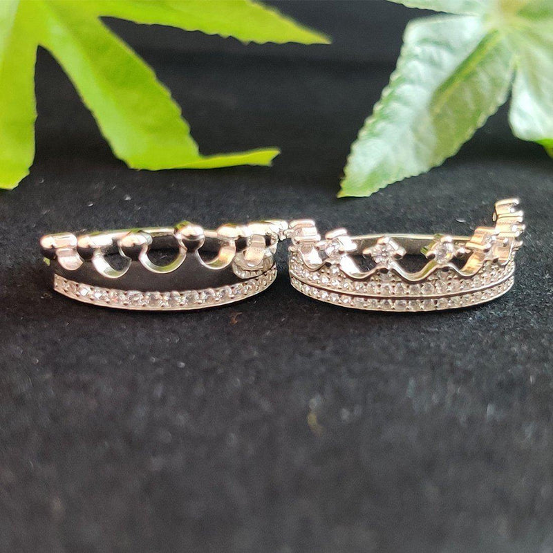 Queen & King 925 Sterling Silver Couple Ring - ayaanadivine.