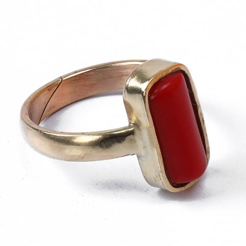 Red Coral  Stone Adjustable Ring - ayaanadivine.