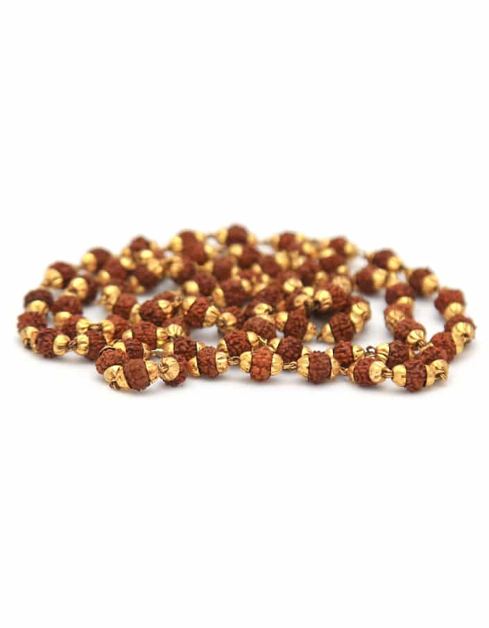 Rudraksha With Golden Cap Mala - Indonesian - ayaanadivine.