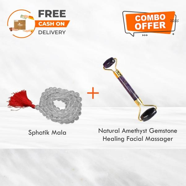 Sphatik Mala  +  Natural Amethyst Gemstone Healing Facial Massager Combo Offer - ayaanadivine.