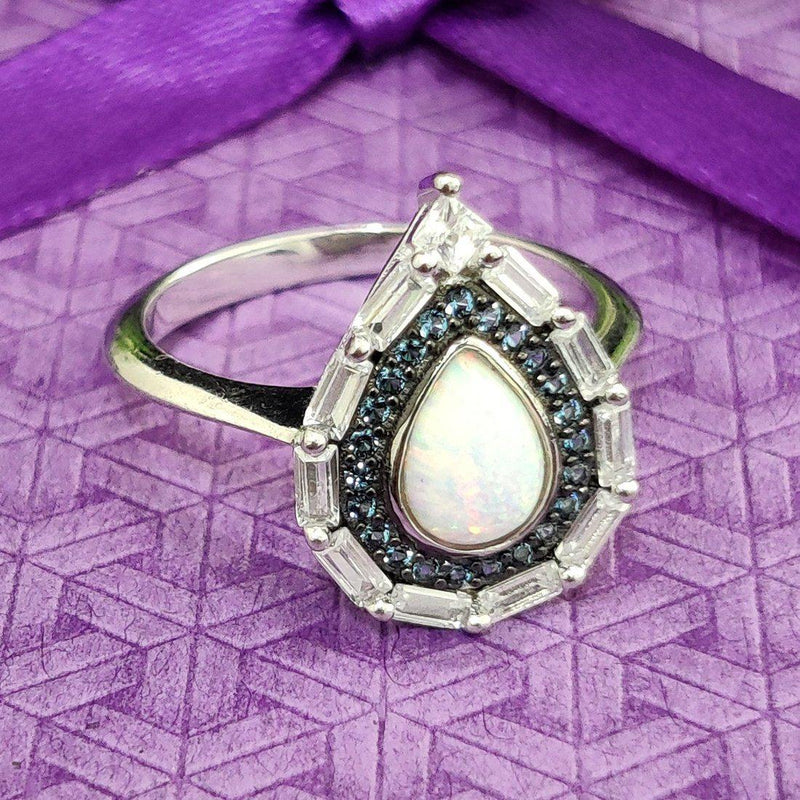 Water Droplet Sterling Silver Ring - ayaanadivine.